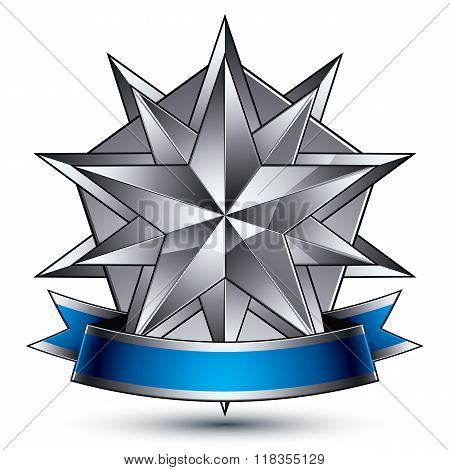 Vector Glorious Glossy Design Element, Luxury 3D Polygonal Silver Star, Conceptual Complicated Graph