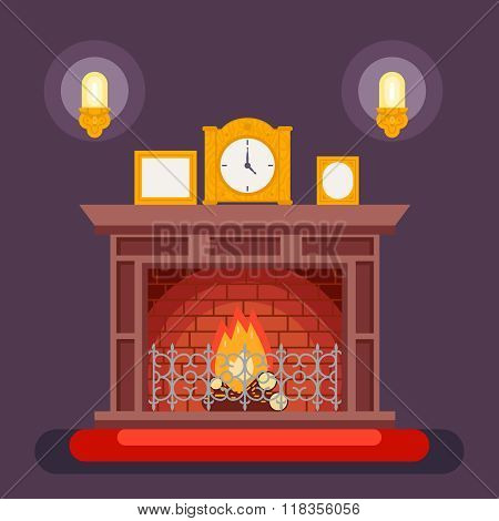 Fireplace Evening Discussing Concept Icon Background Flat Design Vector Illustration