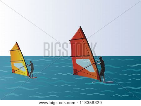 Windsurfing in the Sea Illustration