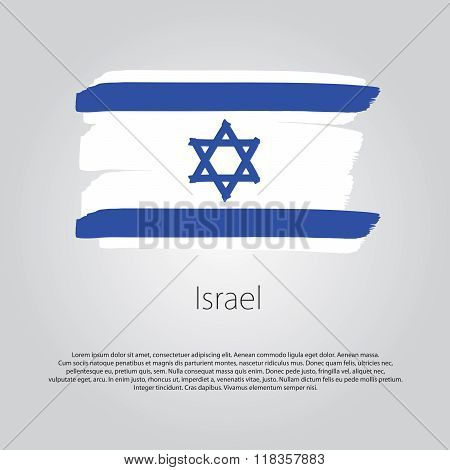 Israel Flag With Colored Hand Drawn Lines In Vector Format