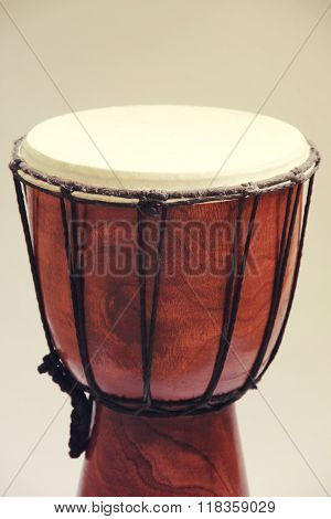 Darbuka drum musical instrument on white