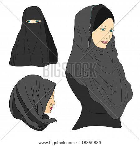 Muslim Girl Dressed In Colored Hijab