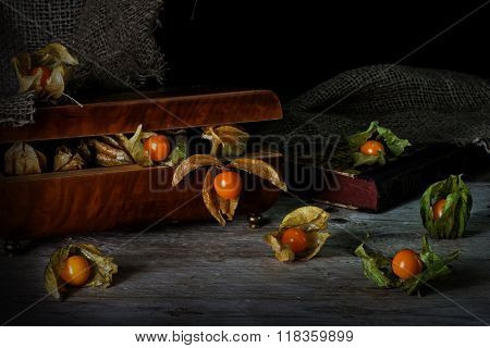 Physalis Fruits Escape From A Vintage Jewelery Box On A Rustic Wooden Table Against A Dark Backgroun