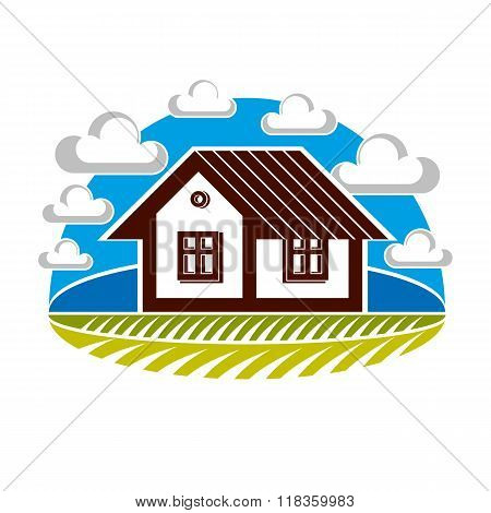 Simple House Vector Illustration, Countryside Idea. Abstract Image Of A Building Over Beautiful Land