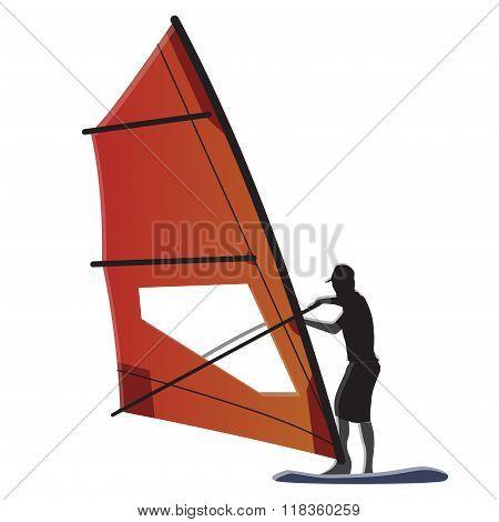 Windsurfer With Orange Sail Illustration