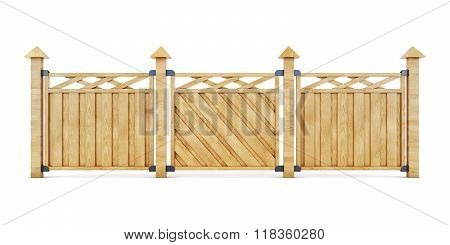 3D Image Of A Wooden Fence On A White Background.