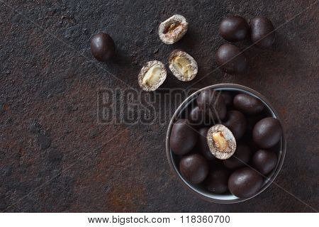 Still Life Of Peanuts In Chocolate