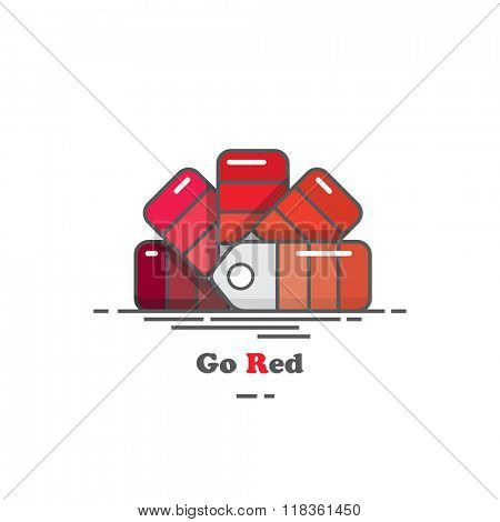 Flat design colour chart in shades of red.