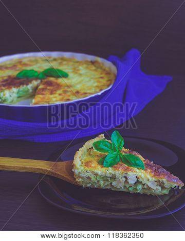 Piece Of French Quiche Lorraine Pie