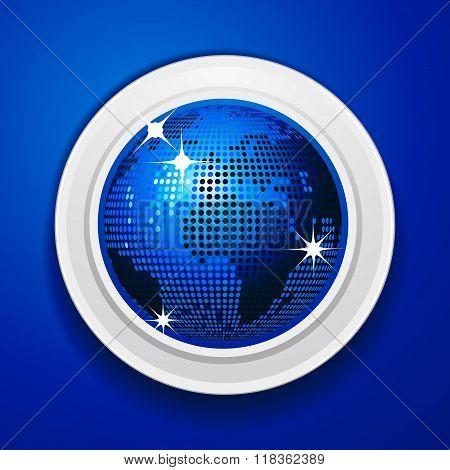 Blue World Globe On White Frame