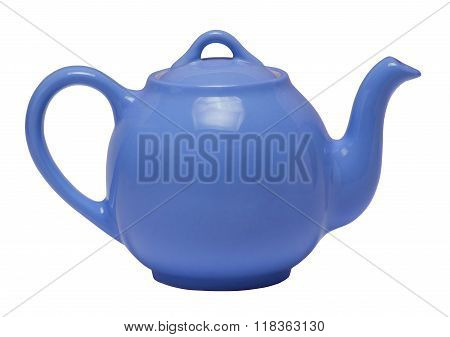 Blue teapot isolated against a white background