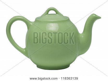 Green teapot isolated against a white background