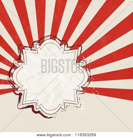 Red starburst retro - abstract event background with vintage label