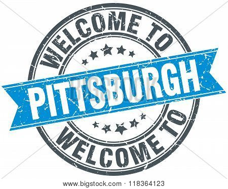 welcome to Pittsburgh blue round vintage stamp