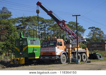 Repair narrow gauge locomotive. Dalat, Vietnam