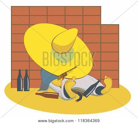 Drunken cowboy with a gun pulls his hat over his eyes and lies near the wall