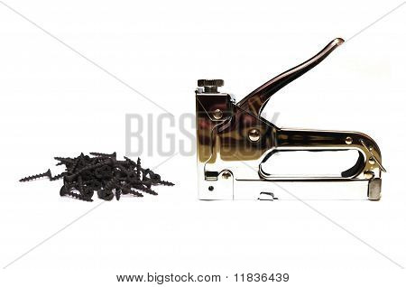 Furniture stapler and rusty screws