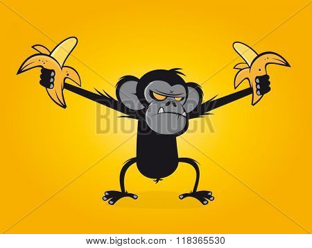 angry chimp is holding bananas