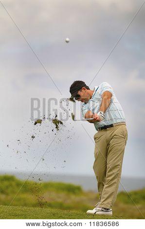 Golfer Playing His Shot
