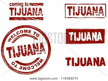 Set of stylized ink stamps showing the city of Tijuana