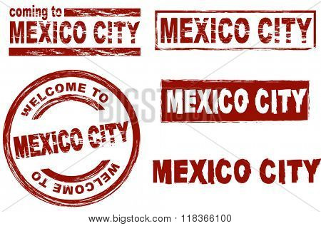 Set of stylized ink stamps showing the  city of Mexico City
