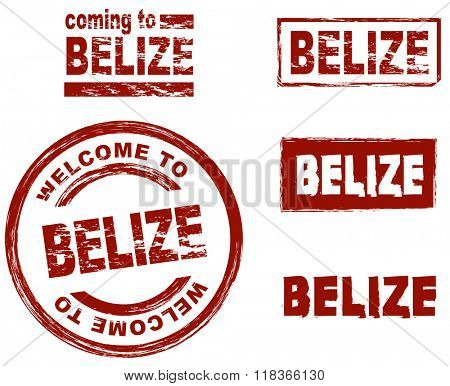 Set of stylized ink stamps showing the city of Belize