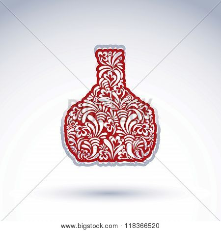 Stylized Bottle Decorated With Ethnic Vector Flower Pattern. Alcohol Idea Illustration, Elegant Grap
