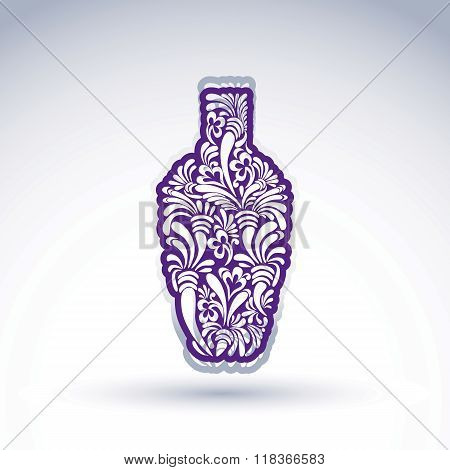 Stylized Bottle Decorated With Ethnic Flower Pattern. Alcohol Idea Vector Illustration, Elegant Grap