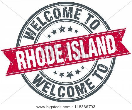 welcome to Rhode Island red round vintage stamp