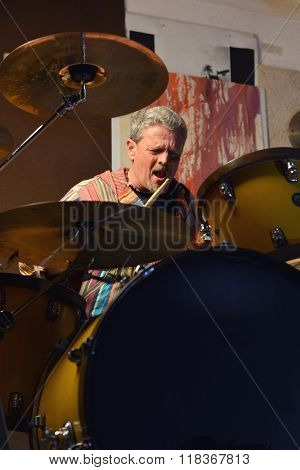 Musician Happy Playing Drums
