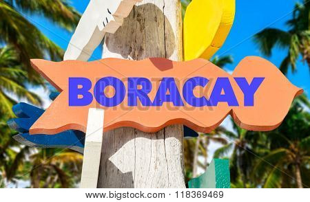 Boracay welcome sign with palm trees