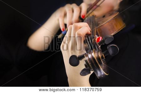 Woman's Hands Playing The Violin