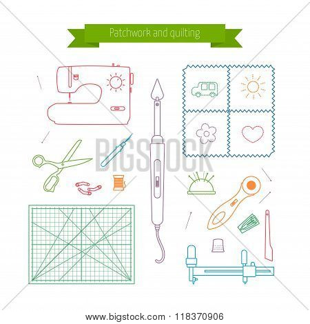 Patchwork line icons set. Quilting supplies and accessories icons. Vector outline icon collection