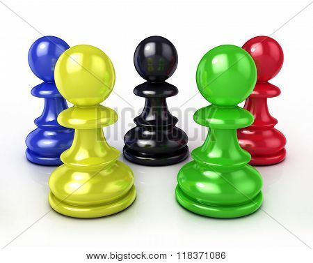 Colorful chess pawns. 3D