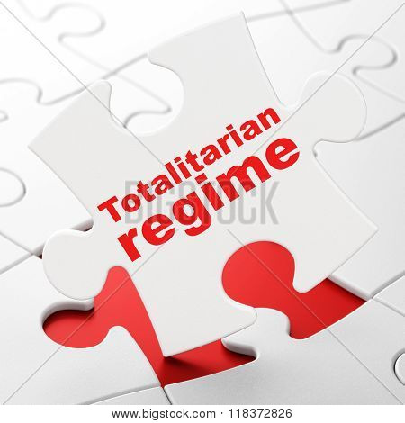 Political concept: Totalitarian Regime on puzzle background