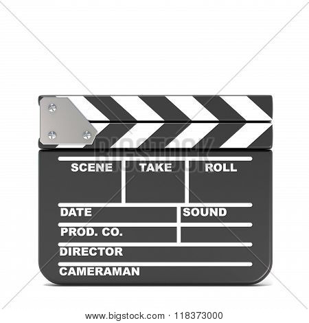 Movie clapperboard closed. 3D