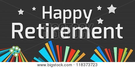 Happy Retirement Dark Colorful Elements