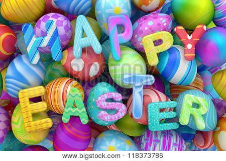 Pile of colorful Easter eggs with Happy Easter