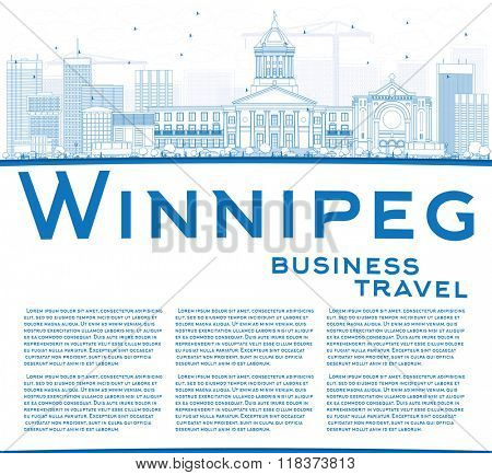 Outline Winnipeg Skyline with Blue Buildings and Copy Space. Vector Illustration. Business Travel and Tourism Concept with Modern Buildings. Image for Presentation Banner Placard and Web Site.