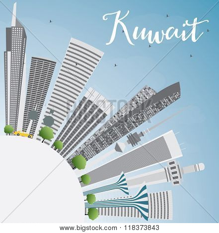 Kuwait City Skyline with Gray Buildings and Blue Sky. Vector Illustration. Business Travel and Tourism Concept with Copy Space. Image for Presentation Banner Placard and Web Site.