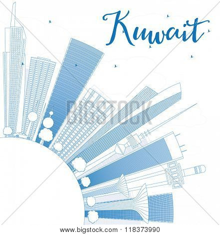 Outline Kuwait City Skyline with Blue Buildings. Vector Illustration. Business Travel and Tourism Concept with Copy Space. Image for Presentation Banner Placard and Web Site.