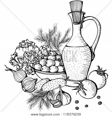 Monochrome vector still life with vegetables and oil