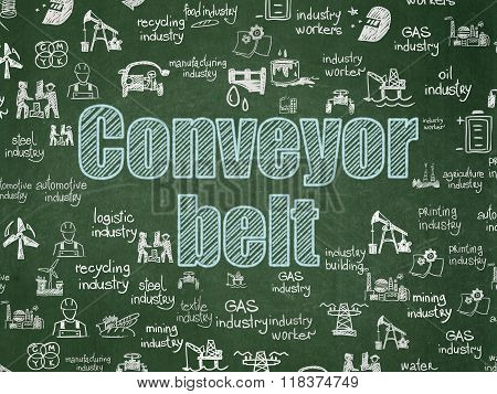 Industry concept: Conveyor Belt on School Board background