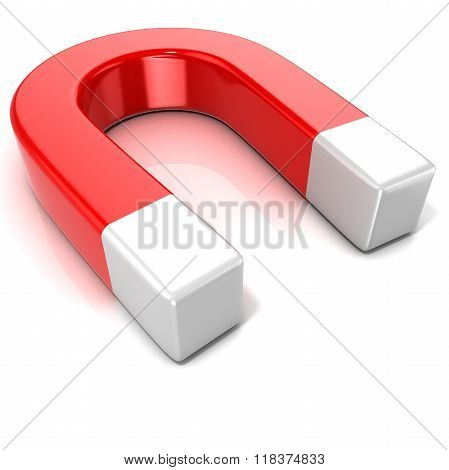 Horseshoe magnet isolated on white background. Side view