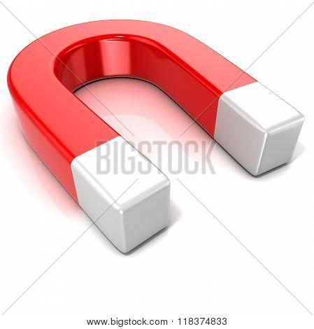 Horseshoe magnet isolated on white background. Side view