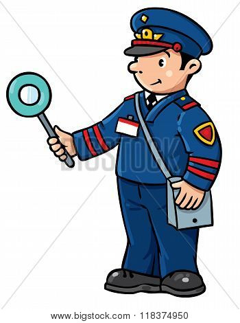 Funny Railroader. Children Vector Illustration
