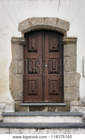 Old door in the city of Lisbon, Portugal
