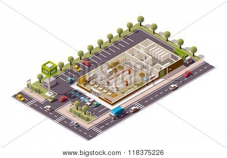 Vector isometric grocery store cross-section