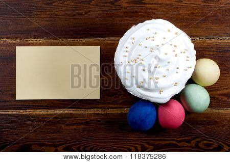 Easter Cake With Different Eggs Around With Card