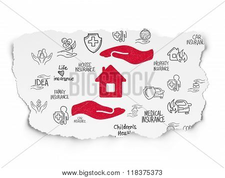 Insurance concept: House And Palm on Torn Paper background